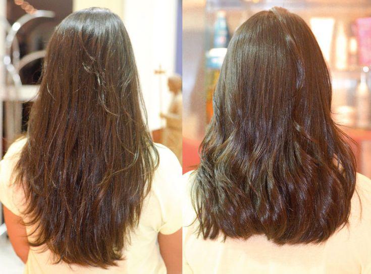 corte de cabelo Long Bob - cabelo preto liso comprimento médio