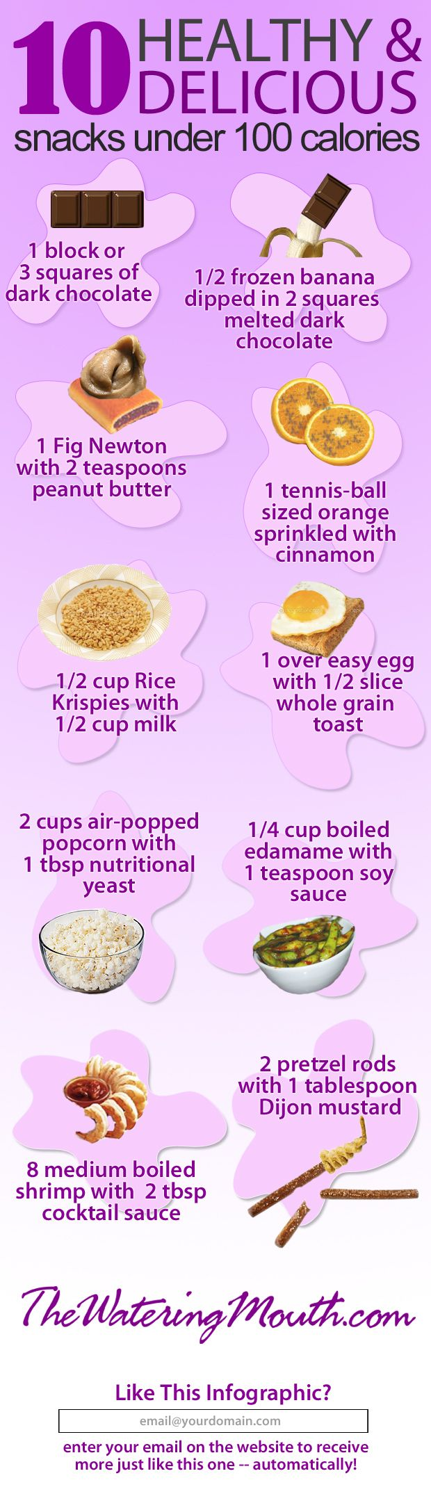 10 Healthy & Delicious Snacks Under 100 Calories! #infographic  http://thewateringmouth.com/10-healthy-snacks-under-100-calories-infographic/