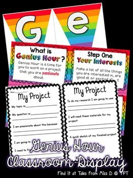 This pack includes everything you need to create a bright and engaging classroom display for Genius Hour. Included in this pack: 1) Rainbow...