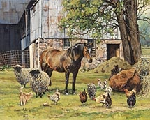 The Barnyard by Bonnie Mohr * I love the barn in this painting and the variety of animals