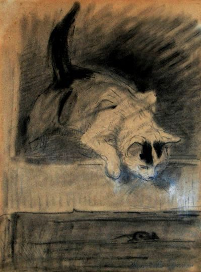 Ronner-Knip_Henriette- Cat_and_mouse. Date: 1870s