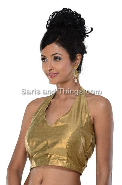 Bronze Gold Halter Neck Sari Blouse, Latest style Designer Saree Blouse | Saris and Things