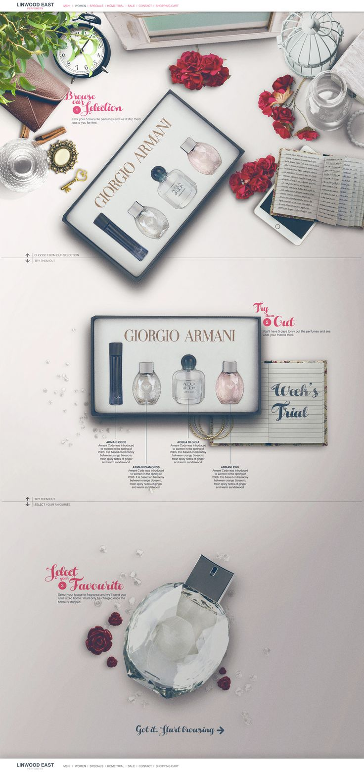 Lovely product transitions as you scroll through this landing page for the upcoming 'Linwood East' perfume range launch. The Single Page website instructs users how the free sample system works while gathering their email address at the bottom. Quite a nice touch having a desk Aerial View of the perfume - just like you would sample the physical product.