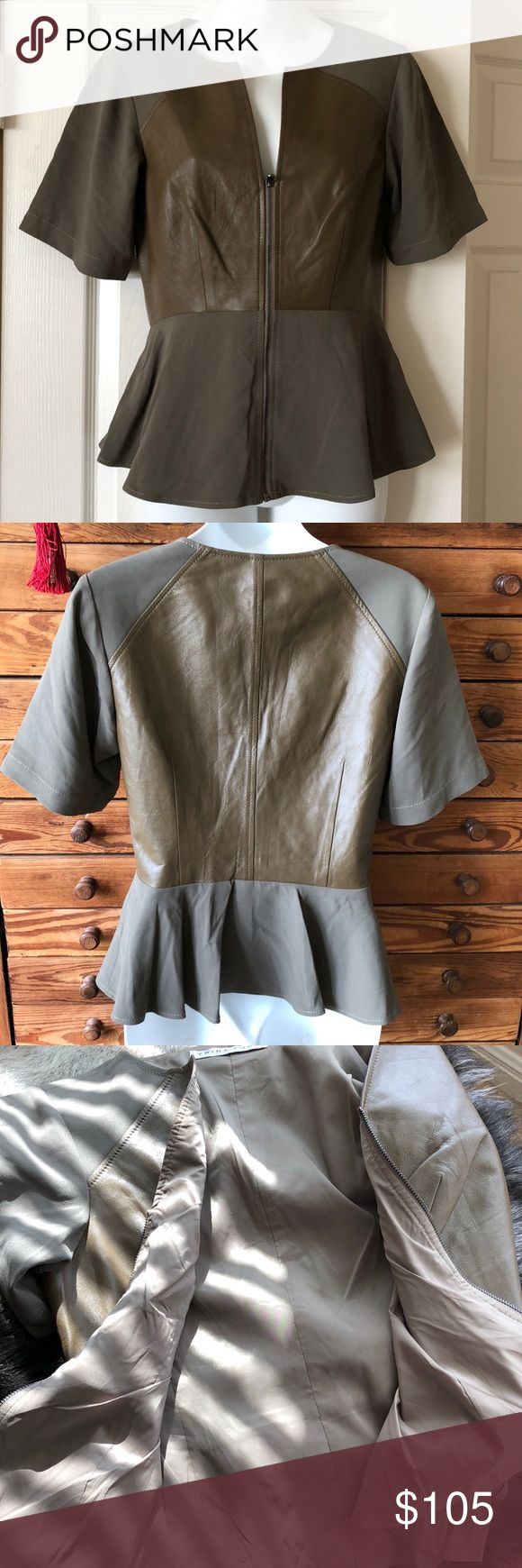 NWOT Trina Turk Leather Peplum Top - Sz Sm NWOT Trina Turk Leather Peplum Top - Sz Sm. Beautiful fully lined  leather and chiffon top! Trina Turk Tops Blouses