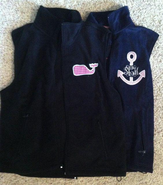 Monogram or appliqué fleece vest by MeauxsMonogram on Etsy, $25.00