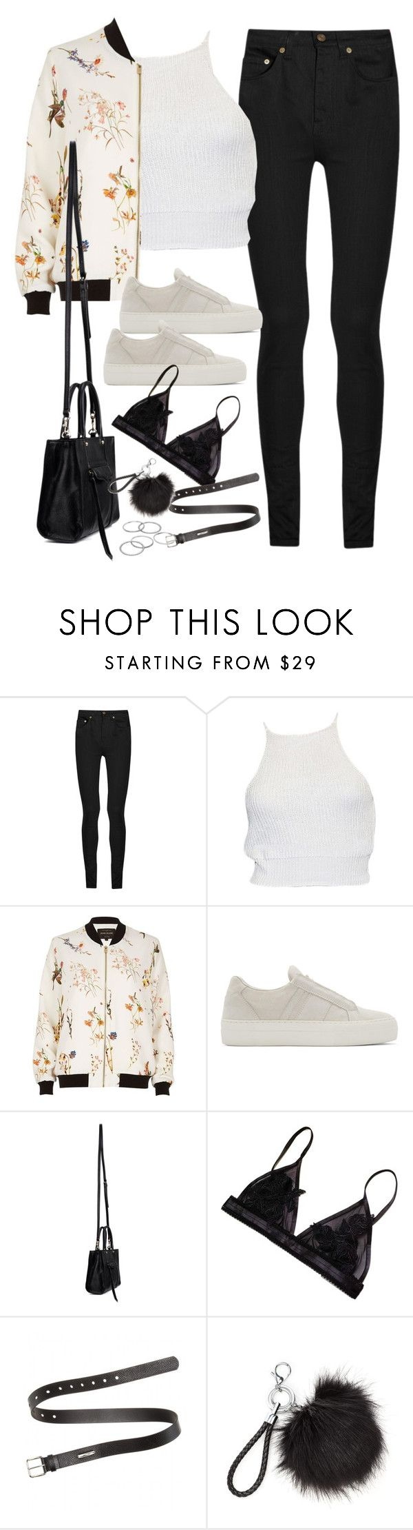 """""""Untitled#4585"""" by fashionnfacts ❤ liked on Polyvore featuring Yves Saint Laurent, River Island, Helmut Lang, Rebecca Minkoff, Acne Studios and Apt. 9"""