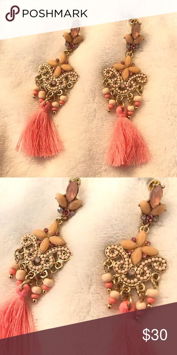 Statement jewelry earrings pink chandelier Statement jewelry earrings pink chand…