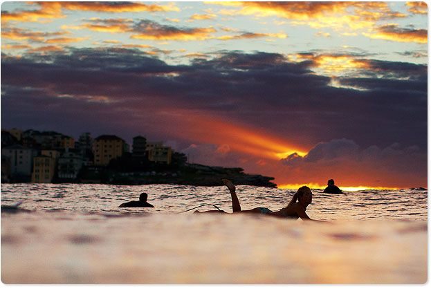 Surfing at Dawn in Bondi