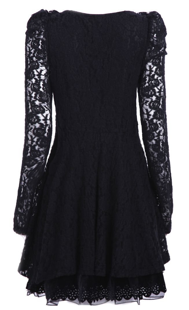 Black Long Sleeve Contrast Mesh Yoke Lace Dress