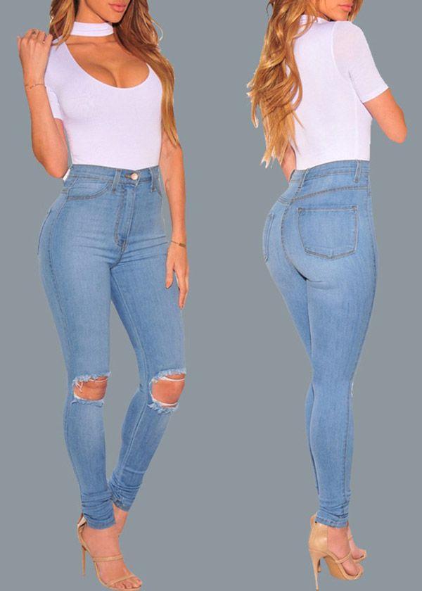 Compre Calça Jeans Cintura Alta Clara Rasgadinha Feminina | UFashionShop