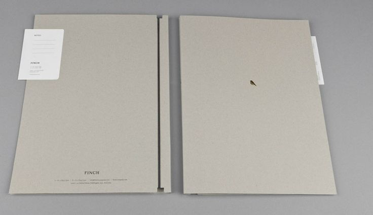 Awesome portfolio idea - minimalist design, gold foil hint, cardstock, rubber band to hold the pages together. Branding by http://www.maud.com.au #branding #brand_identity #portfolio