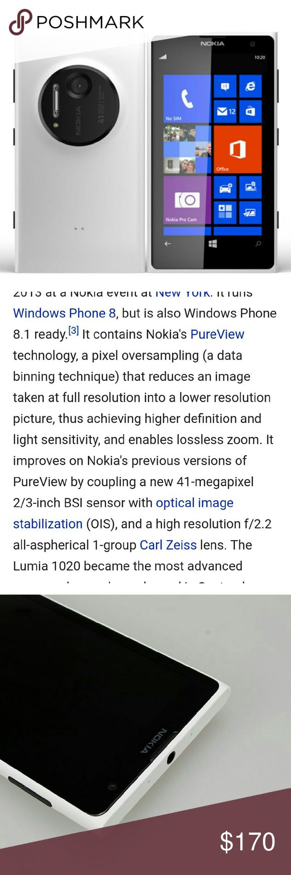 NOKIA LUMINA WINDOWS PHONE White Nokia Lumina 1020 ,best camera phone to date on the market,  it is windows software, it is unlocked,  can be used with any carrier that uses a sum card... 41 mega pixel camera is absolutely amazing, professional pics and videos Nokia Other