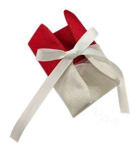 Bustina bicolore bianco e rosso con nastri di chiusura | Bomboniere Fai da Te