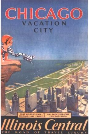 Chicago - Vacation City: Vintage Chicago, Chicago Poster, Vintage Poster, Living Room, Travel Poster, Vacations Cities, Chicago Travel, Illinois Central, Chicago Vacations