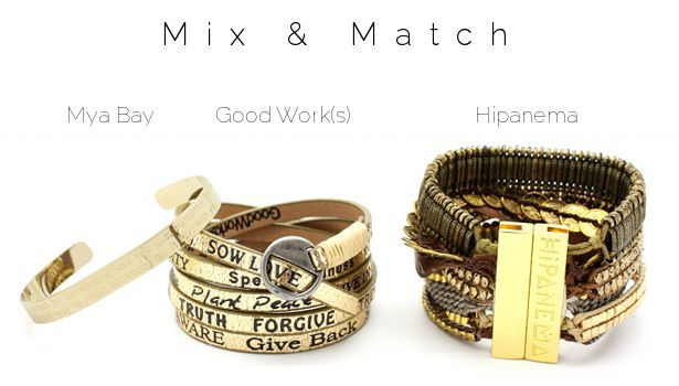 Mix & Match www.lilishopping avec un jonc gravé Mya Bay, un bracelet Good Work(s) et la manchette platine Hipanema