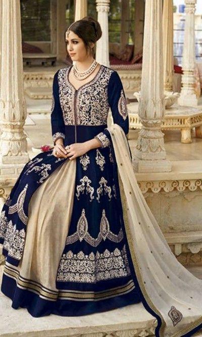 Blue and Beige Floor Length Anarkali Suit