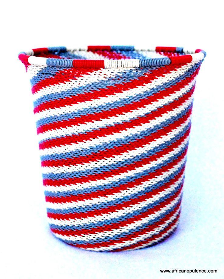 Patriotic Wire Basket Red, White & Blue