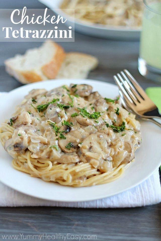 Chicken Tetrazzini | Easy, delicious & creamy chicken (or turkey) and mushroom mixture served over spaghetti.