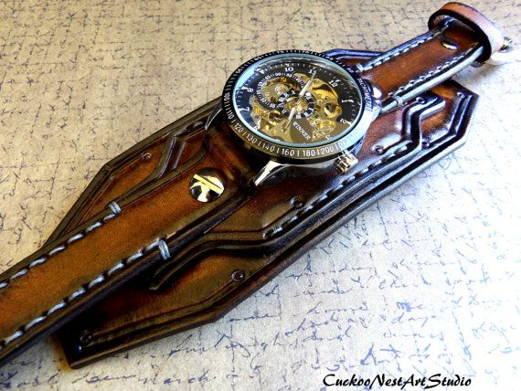 Steampunk Leather Wrist Watch Skeleton by CuckooNestArtStudio