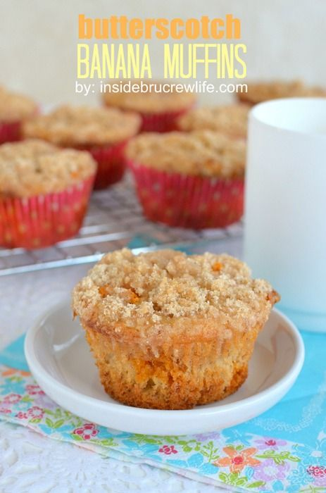 Butterscotch Banana Muffins from Inside BruCrew Life - easy banana muffins made from a cake mix and butterscotch chips #banana #muffins