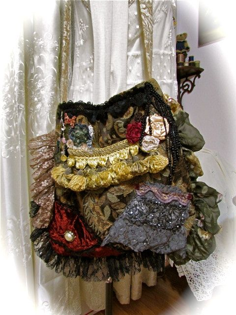 Bohemian Gypsy Bag handmade fabric purse upholstery by GrandmaDede