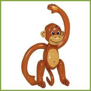 Inflatable Monkey, $2.59 Cdn each http://www.allthatstuff.net/SafariAdventure/safari-adventure-party-supplies.html