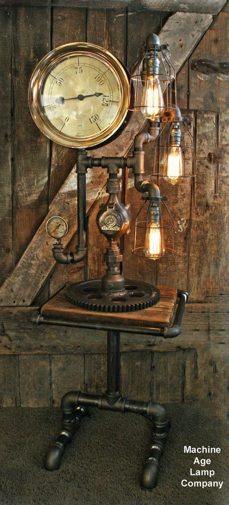 Steampunk Industrial Barn Wood and Lamp Table #Steampunk #Lamp #HomeDecor