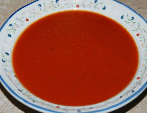 """Tomato Soup - """"If your goal was to make a soup that tastes like Campbell's, you may find that this, while close, is not quite right. I think that it tastes better, but this is just my opinion. This soup has a complex and savoury tomato flavour, which I find desirable. Campbell's tomato soup is much sweeter."""" 