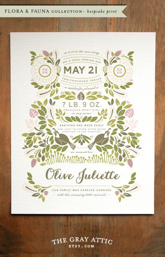 Custom Birth Story Keepsake Print  Flora & Fauna  by TheGrayAttic, $20.00