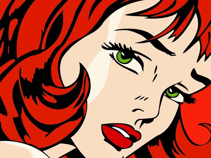 women redheads green eyes artwork pop art faces Roy Lichtenstein red lips
