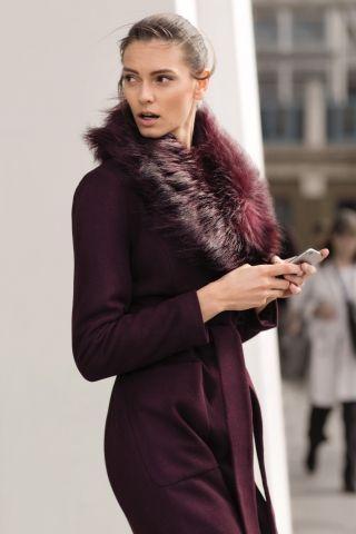 Top secret - Manteau avec fourrure noué à la taille