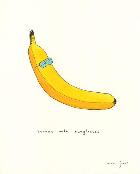 """Banana with sunglasses"" from ""Things with sunglasses"" by Marc Johns. Ink and watercolour on paper, 8x10 inches."