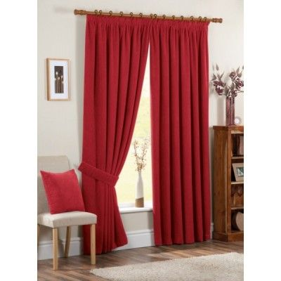 Chenille Spot Ready Made Curtains Red
