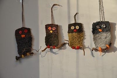 Cute knitted owls