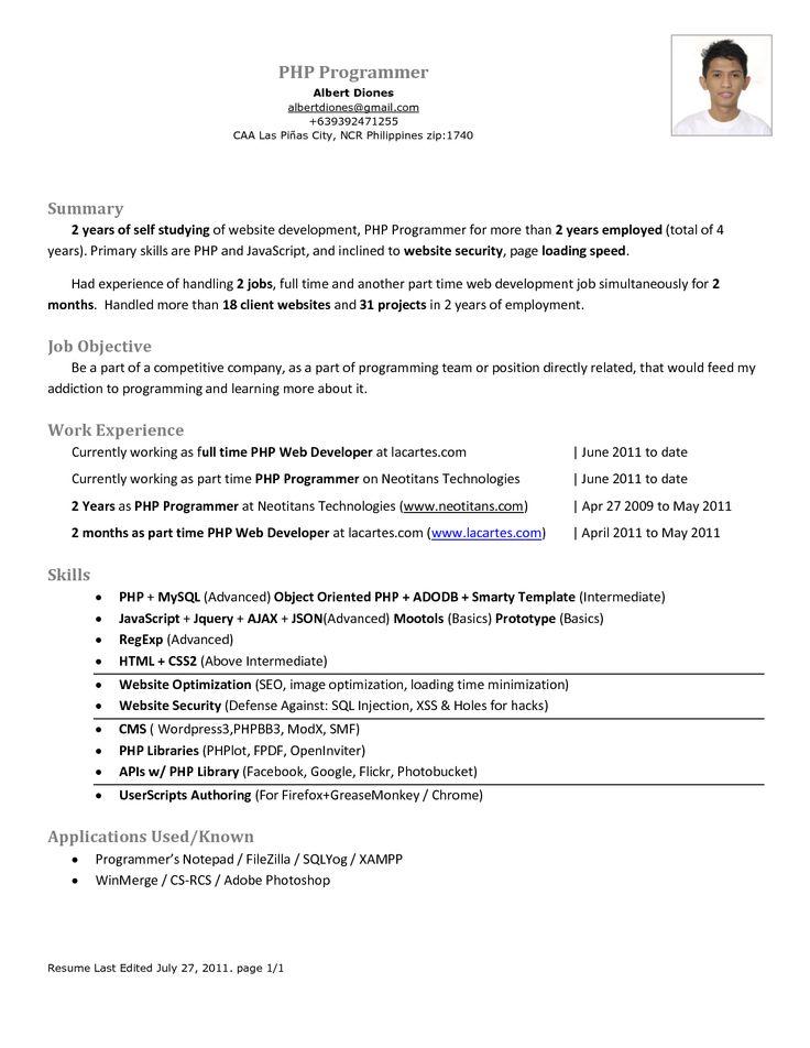 Php Programmer Resume - http://www.resumecareer.info/php-programmer-resume-15/