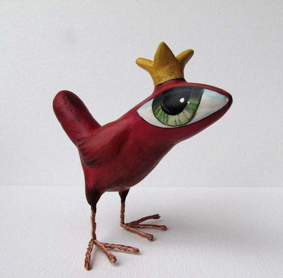 paper mache sculptures | Paper Mache - Art Sculpture - Abigail - A Big Eyed Bird