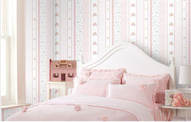 Eco-friendly pvc fiorito della banda dei bambini rosa blu e arancione carta da parati fiore bambini parete rotolo di carta per la camera da letto