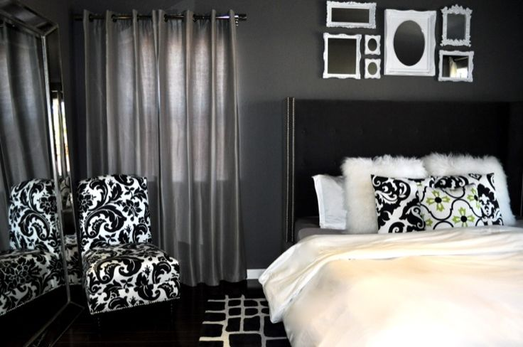 bedrooms - Damask Florenza Chair $269 lamb fur pillow covers tufted nailhead upholstered bed floor mirror Bed mirror damask chair pillow frames frame gallery rug vintage glam glamor modern black white fur bedding grey nail head tufted headboard high headboard upholstered bed.