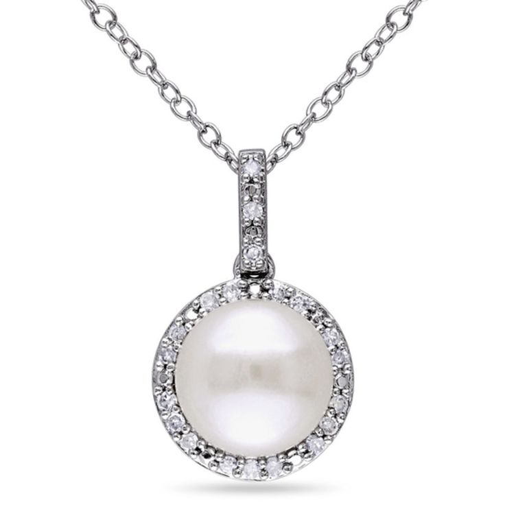 Zales 8.0 - 8.5mm Cultured Freshwater Pearl and 1/10 CT. T.w. Diamond Frame Pendant in Sterling Silver TU9Gc83
