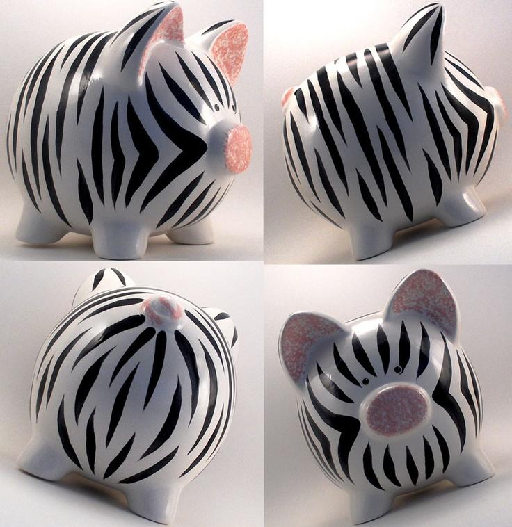 Zebra Print Piggy Bank!!.. =)