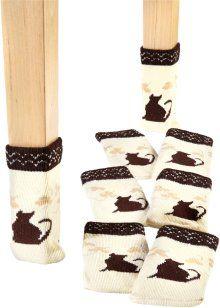 Ponožky na židle Kočka (8dílná souprava), bpc living, béžovo-hnědá