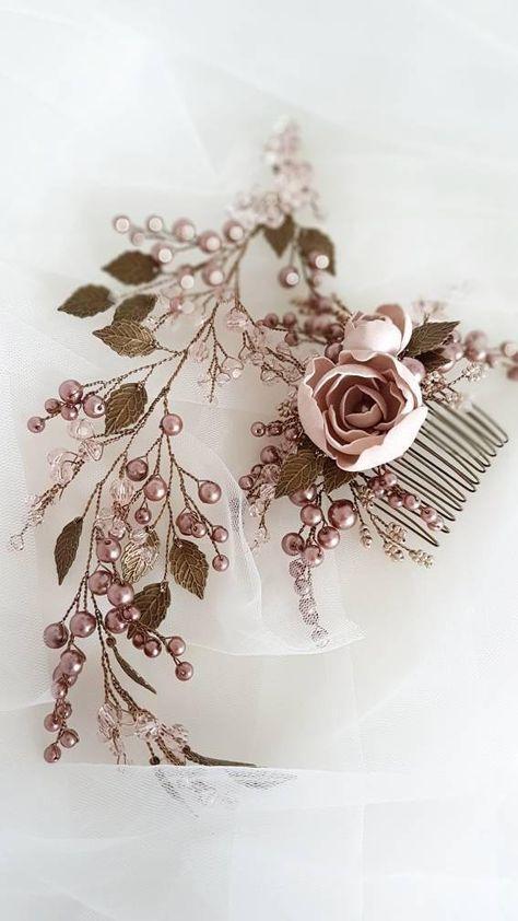 Vintage inspired Bridal hair comb Bronze Wedding hair comb
