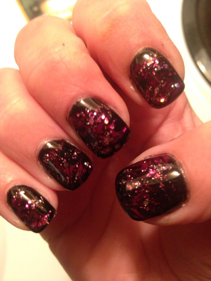 Black with pink and sparkle marbled in