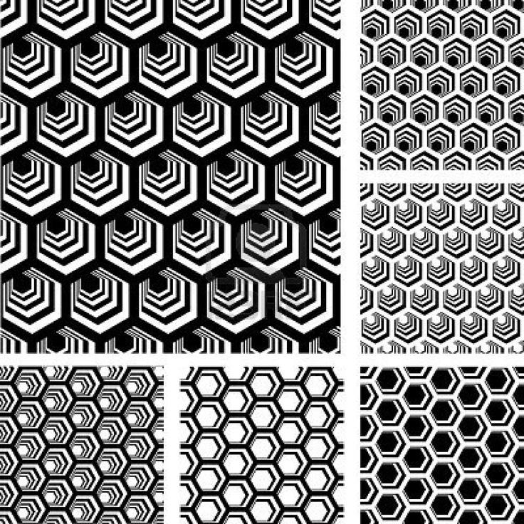 Motivi geometrici senza soluzione di continuità. Disegni impostato con elementi esagonali Archivio Fotografico