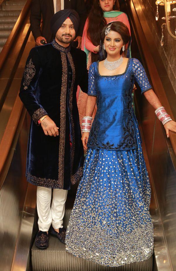Harbhajan Singh and Geeta Basra at their wedding reception in Delhi. #Bollywood #Fashion #Style #Beauty #Hot #Desi #Punjabi #Wedding