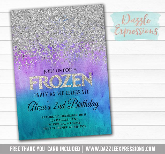 Printable Silver Glitter Frozen Birthday Party Invitation | Winter Wonderland | Snowflake | ONEderland Invite | Purple and Teal Ombre | Sweet 16 | Sparkle | Banner | Favor Tags | Elsa and Anna Inspired | Party Package Decor Available