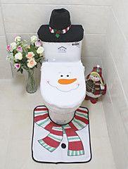 3Pcs/Set++Santa++Ornament++Snowman+Toilet+Seat+Cover+Rug+Bathroom+Mat+Set+Christmas+Xmas+Decoration+For+Home+–+USD+$+11.99