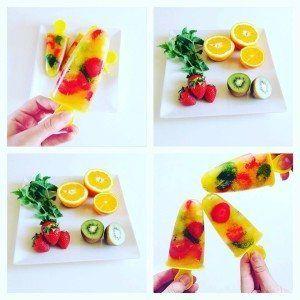 Ovocné nanuky s pomerančem, jahodami a kiwi