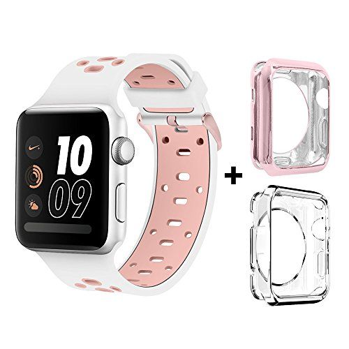 Bands for Apple Watch 42mm Alritz Patent Silicone Sport Straps Patent Replacement Wristband with Free TPU Protective Case for Apple Watch Nike Series 2 Series 1 Sport Edition White & Pink
