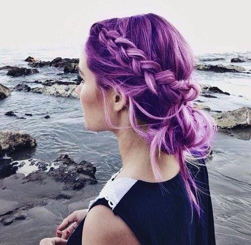 Image via We Heart It #fashion #girl #hair #ocean #purple #style #uguh